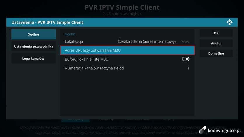 Jak skonfigurować dodatek PVR IPTV Simple Client w Kodi 17 i