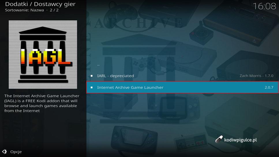 Jak zainstalować wtyczkę Internet Archive Game Launcher w Kodi 18