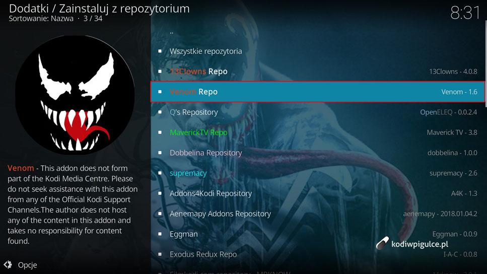 Jak zainstalować wtyczkę Venom w Kodi 18 i 17 [poradnik] – www